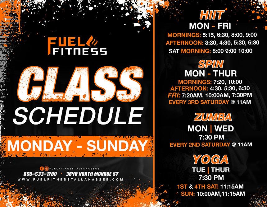 Class Schedule - Fuel Fitness - updated