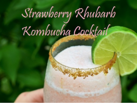 Strawberry Rhubarb Kombucha Cocktail