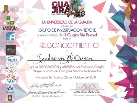 Por nuestra participación en Guajira Film Festival,La Universidad La Guajira nos hace reconocimiento