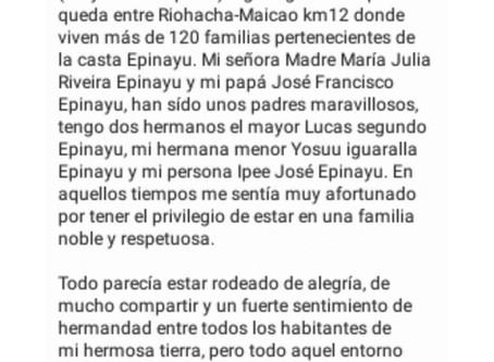 """4to cuento preseleccionado: """"Ipee y Yosuu, El Jimai y la Majayut""""de Leider Epinayu - Manaure"""