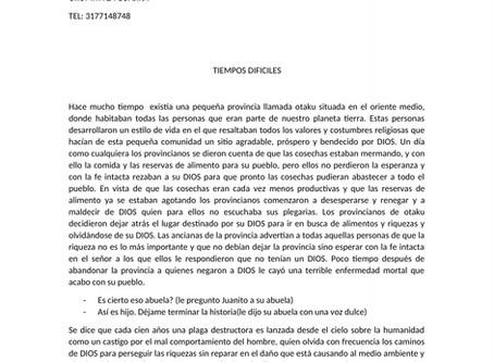 """9no cuento preseleccionado """"Tiempos difíciles"""" por Rosario Ramos de Urumita"""