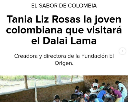 Tania Liz Rosas la joven colombiana que visitará el Dalai Lama