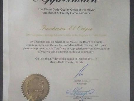 Recibimos con honor el certificado de @MiamiDadeCounty a la Fundación El Origen
