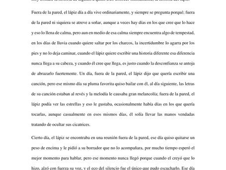 """3er cuento preseleccionado: """"El lápiz, sus días y sus paredes"""" por Esther Judith Sarmiento Montes"""