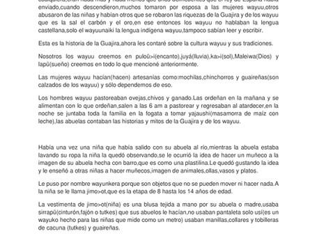"""14vo cuento: """"Esta es la historia de La Guajira y la cultura Wayuu"""" por Valentina Epinayú y Anyeli R"""