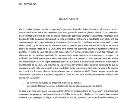 """11vo cuento preseleccionado: """"Tiempos difíciles"""" por ROSARIO RAMOS de Urumita"""