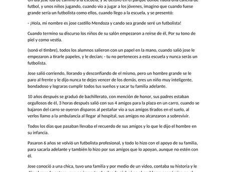 """8vo cuento preseleccionado: """"La historia de Jose"""" por Adriana Farfan"""