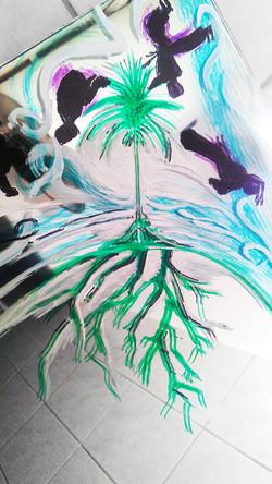 painting on a mirror, capoeira theme
