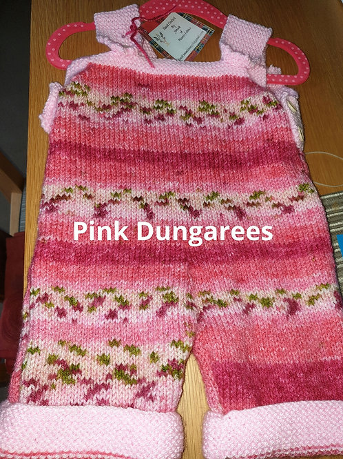 Hand knitted Pink Baby Dungarees 3-6 Months