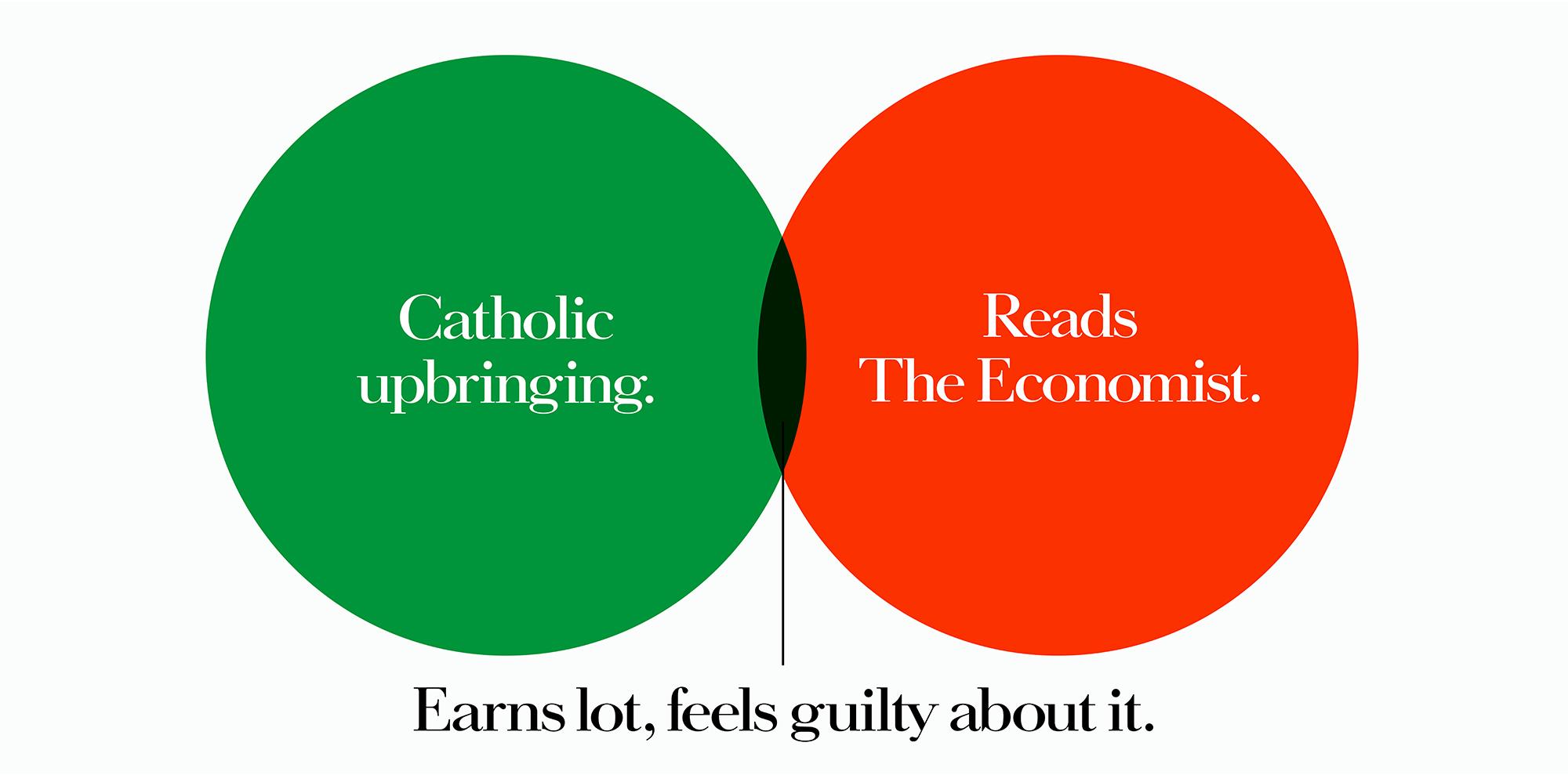 'Catholic' The Economist, Dave Dye, Venn, 48 sheet, AMV-BBDO