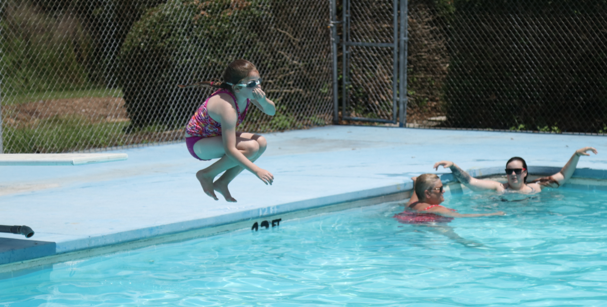 Jumping from the diving board_