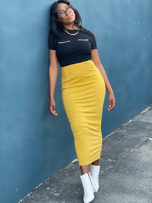 long yellow skirt