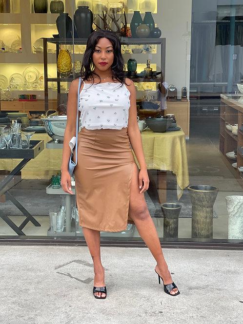 cropped shirt + brown skirt