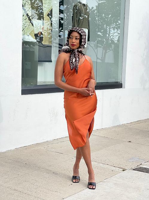 pretty orange dress + louis vitton scarf