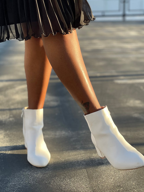 all white boots with heels