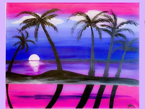 1 Day Camp: July 12th. Honolulu Sunset 16x20