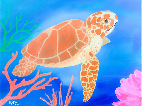 1 Day Camp : July 20th Turtle Reef 16x20 Painting