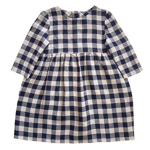 MABEL DRESS, NAVY CHECK LINEN