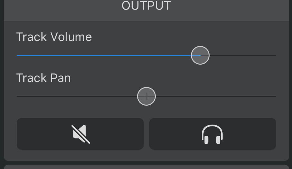 A recording interface which shows track volume and pan settings