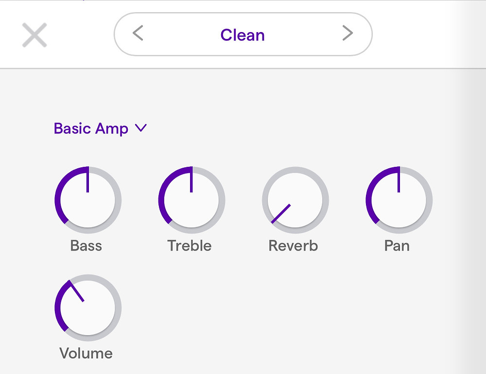 A recording interface which shows knobs for Bass, Treble, Reverb, Pan, and Volume