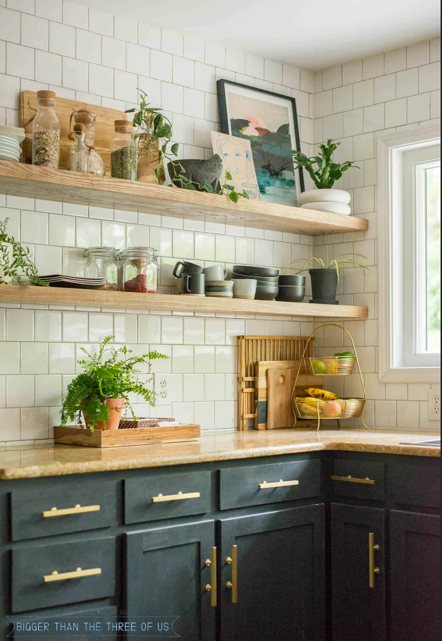 Kitchen with Open shelving subway tile and dark cabinets with gold hardware