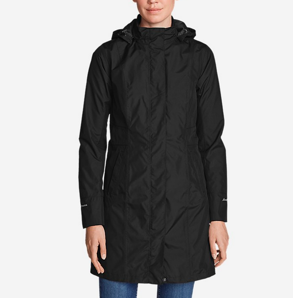 warm lined black coat for spring and fall - waterproof- black trench coat- hooded coat