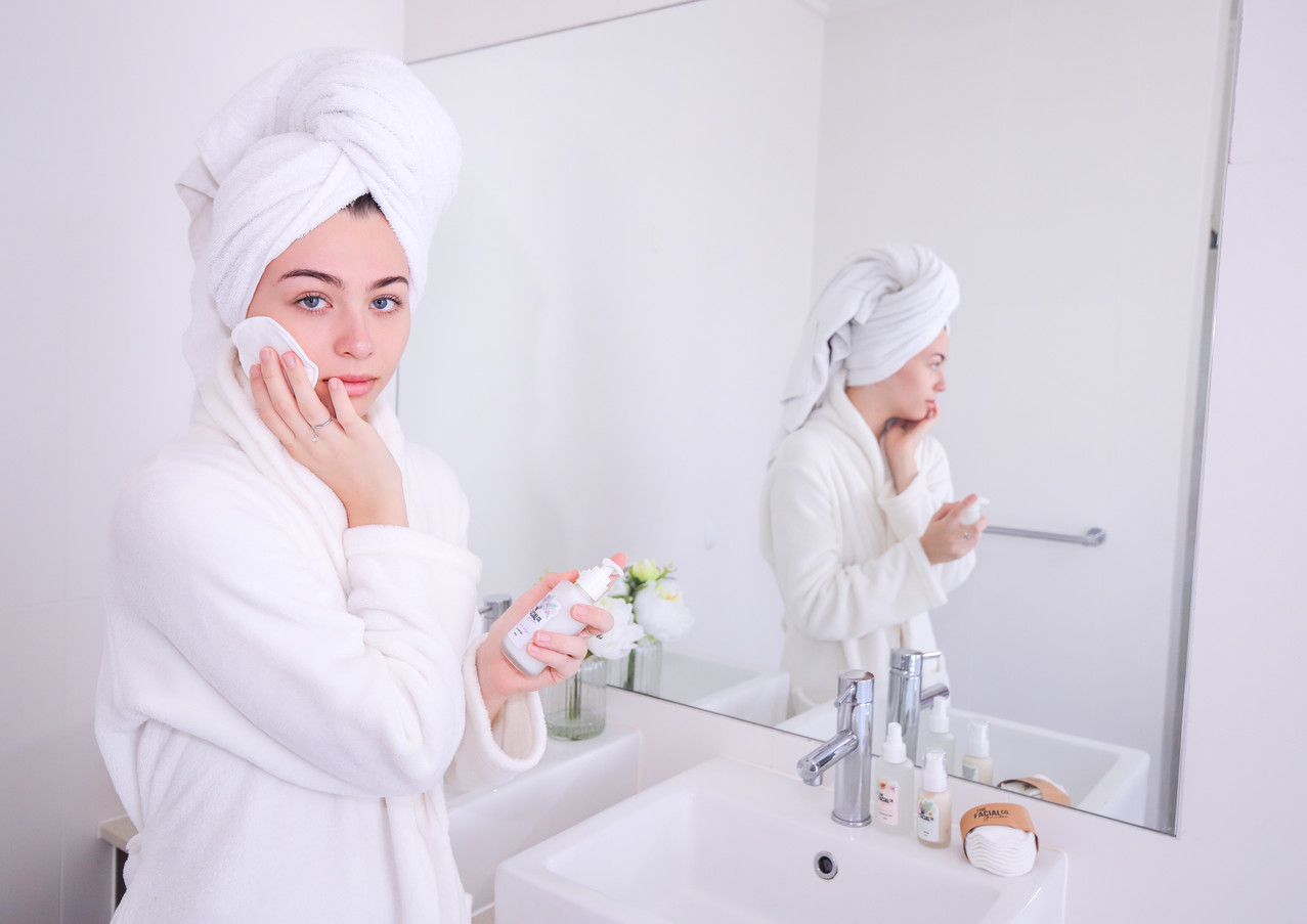 Skincare in use