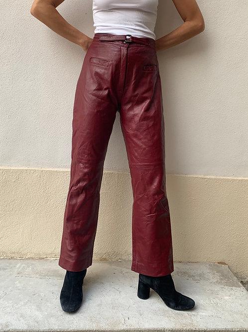 pantalone cuir bordeaux
