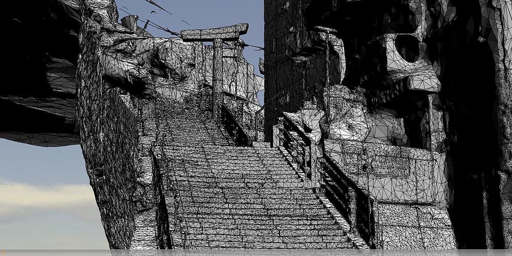 山王神社二の鳥居3D