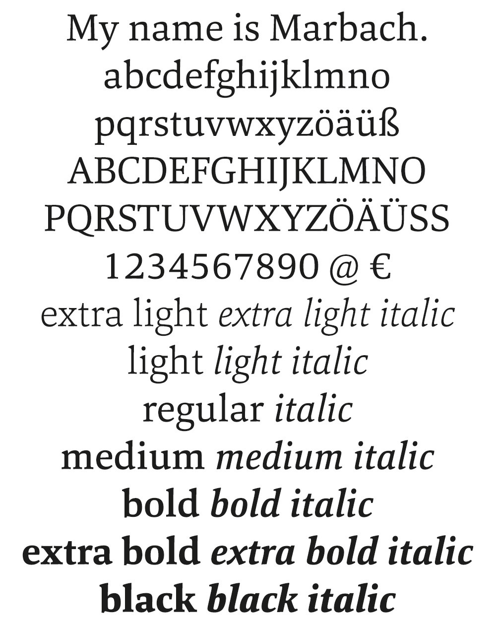 Marbach font example
