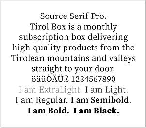 tirol box typografie source serif pro