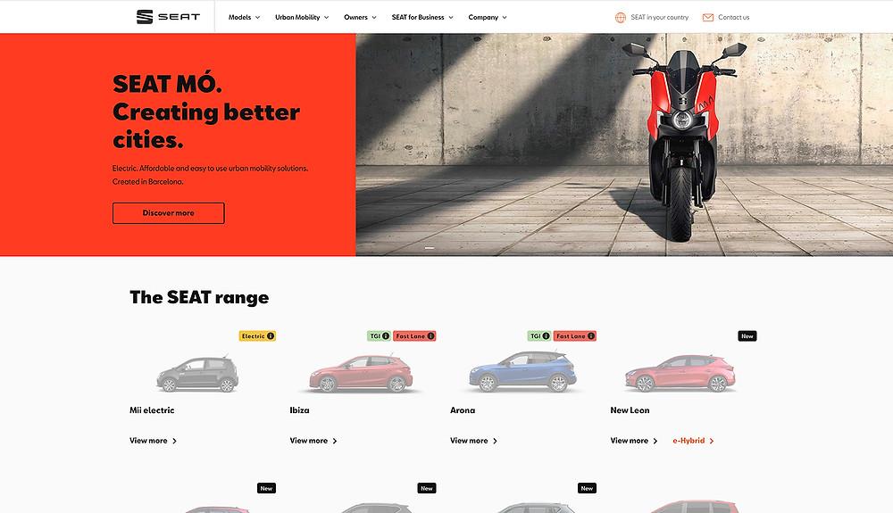 Seat website design