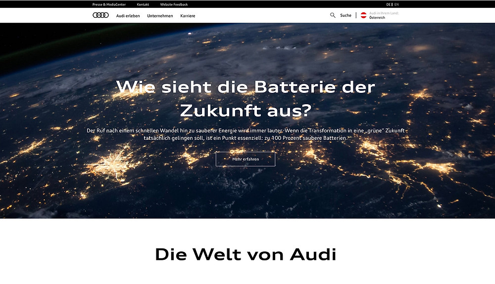 Audi website design