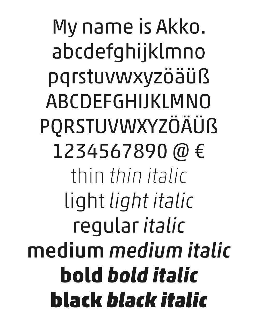 Akko font example