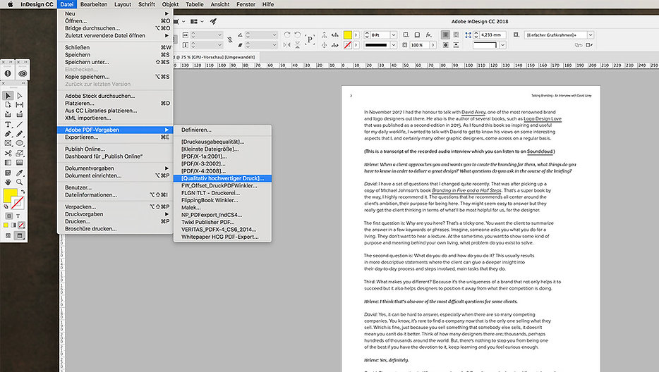 exporting a pdf as single pages