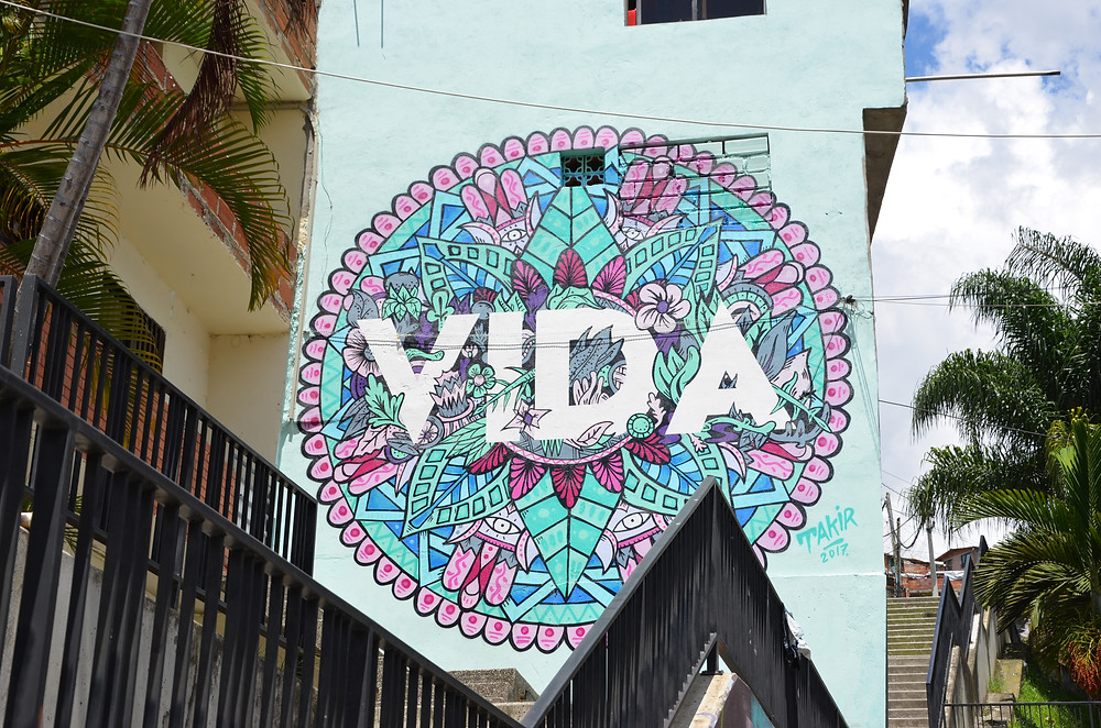 Street art VIDA in Comune 13 in Medellín, Colombia