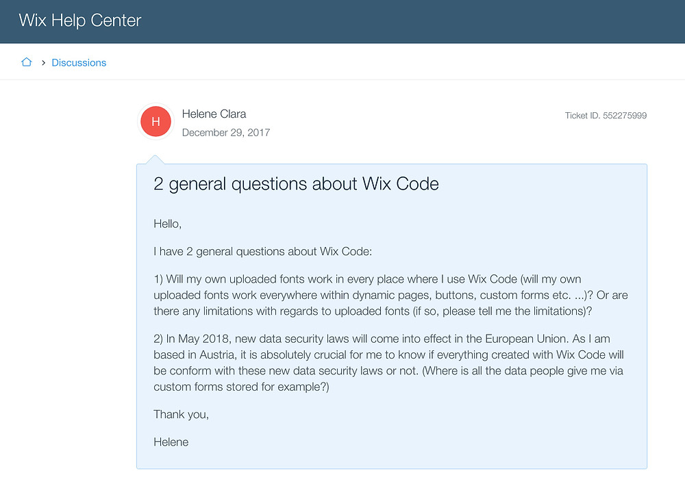 questions to WIX