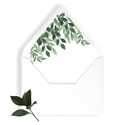 Greenery, envelope liner, leaves, eucalyptus, wedding greenery, wedding envelope liner, green, white