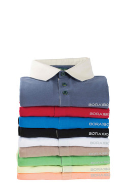 Long-Sleeve Polo with Twill Collar