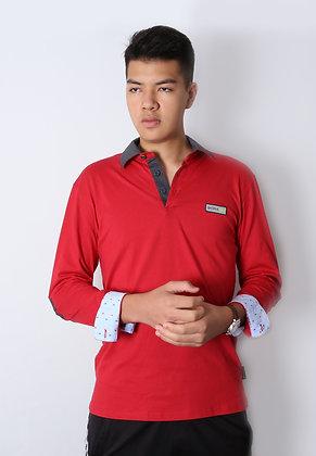 Long Sleeve Polo - Tango Red