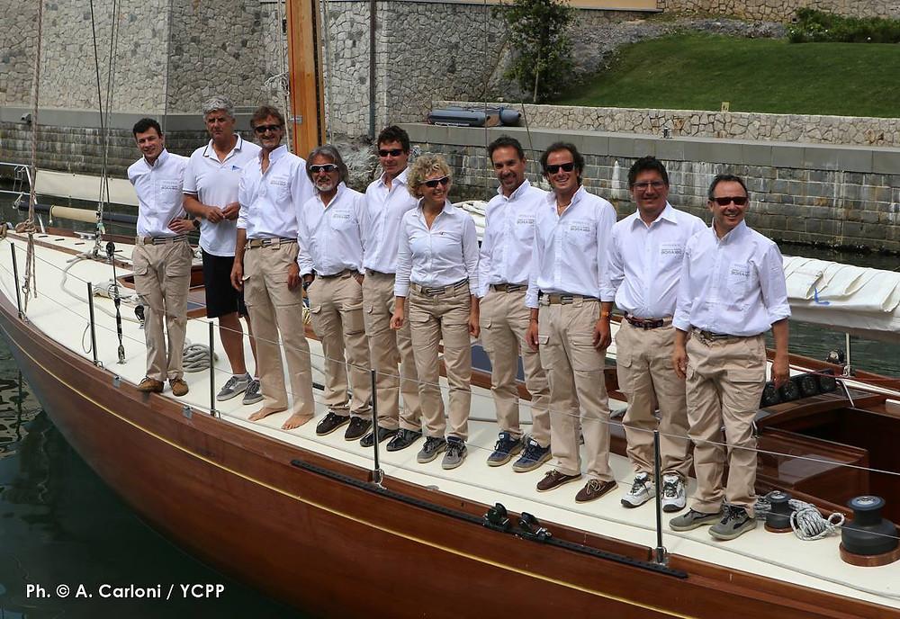 The winning ANGELICA-IV crew is dressed by BORA180.  They won the Trofeo Portopiccolo Classic and Coppa Sciarrelli 2016.