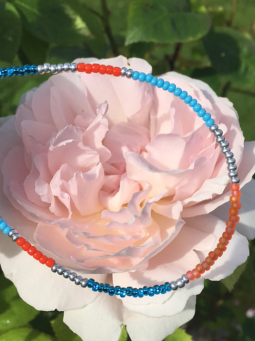 Turquoise, orange and silver 1 string bracelet