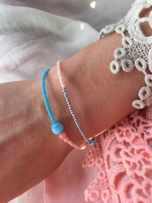 Turquoise and coral bracelet with 2 strings silver