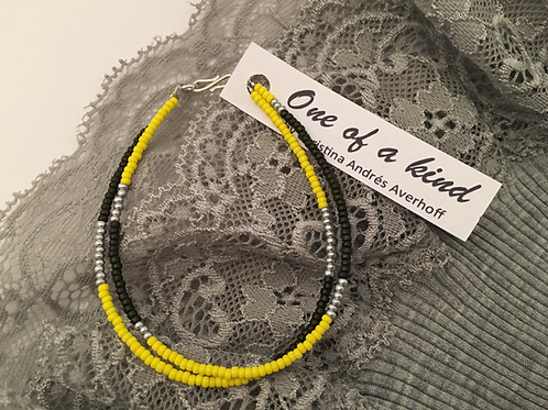 Yellow, grey and silver 2 string bracelet