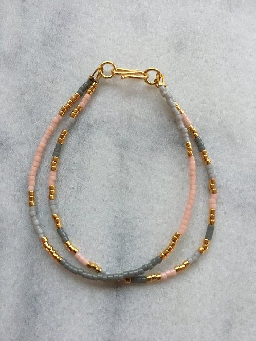 Grey, gold and rose 2 string bracelet