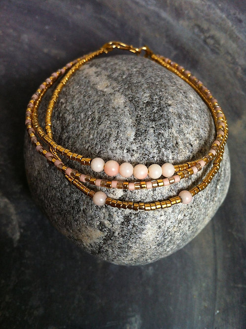 3 string gold bracelet with coral beads