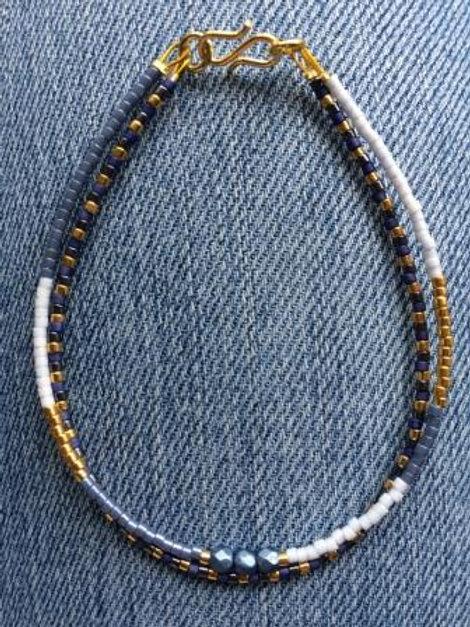 Denim, gold and pale blue 2 string bracelet