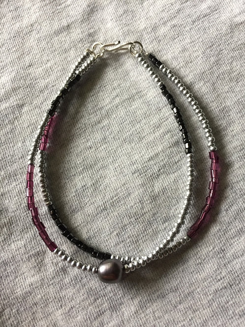 Silver, grape/ purple and grey with freshwater pearl