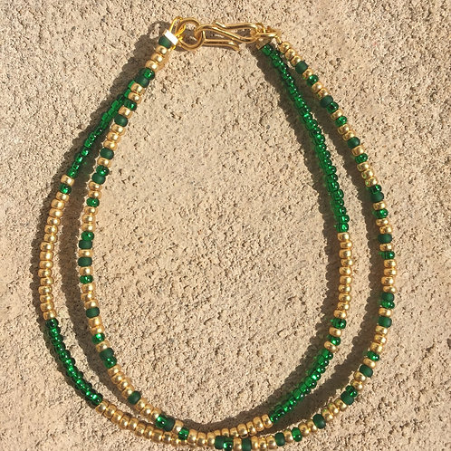 Green & gold 2 string bracelet