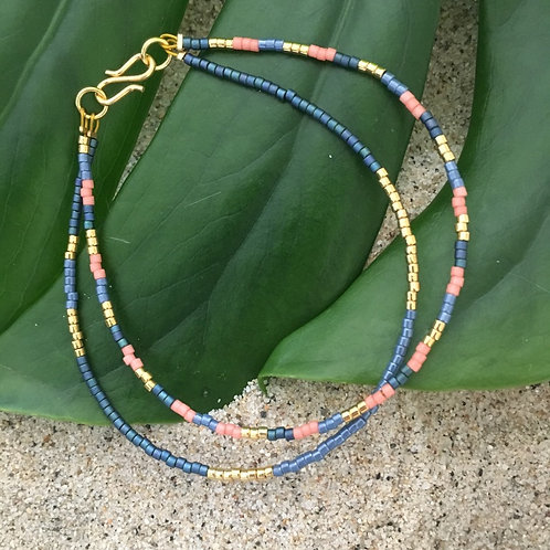 Denim, peach and gold 2 string bracelet